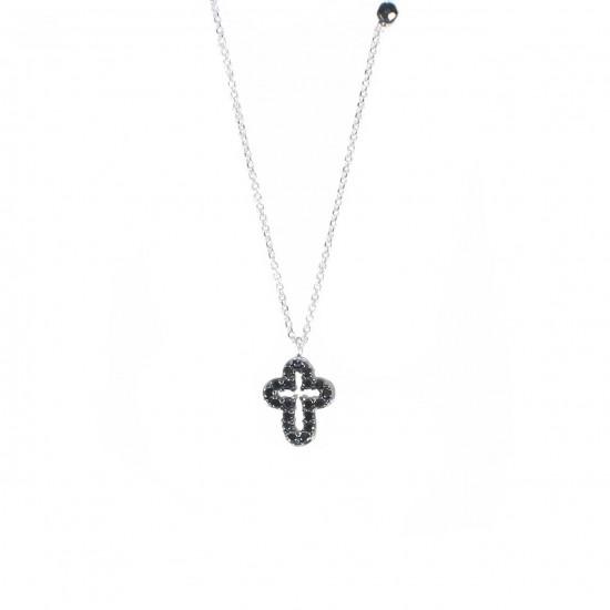 Κολιέ λευκόχρυσο Κ14 με σχέδιο Σταυρός διπλοκαρφωμένος με λευκά και μαύρα ζιργκόν 14133