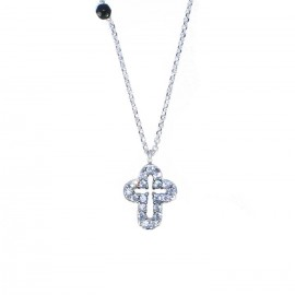 White Gold necklace Κ14 with draft cross Double nailed with white and black zircon  14133