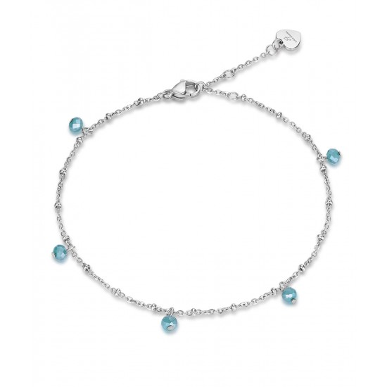 Stainless steel foot chain with colored crystals CV104