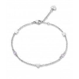 Stainless steel foot chain with pink crystals and hearts length 25cm