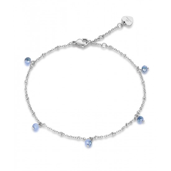 Stainless steel foot chain with blue crystals CV105