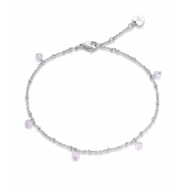 Stainless steel foot chain with pink crystals length 25cm CV103