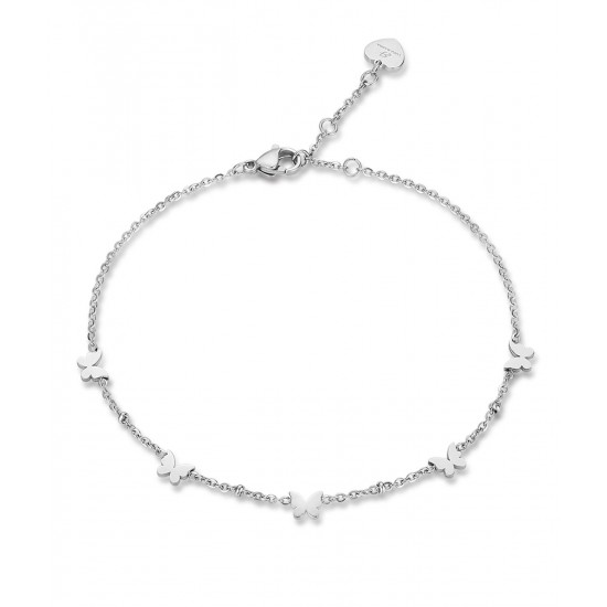 Stainless steel foot chain with butterflies length 25cm CV106