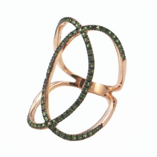 Δαχτυλίδι ροζ χρυσό Κ18 με πράσινα ζιργκόν
