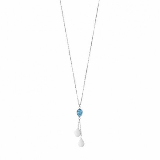 Stainless steel necklace and drawing drop with blue crystals length 40-45cm CK1347