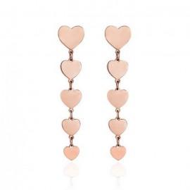 Σκουλαρίκια από ανοξείδωτο ατσάλι με σχέδιο καρδιάς σε ροζ χρώμα OK1007
