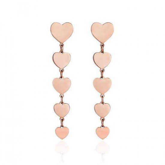 Stainless steel earrings with heart design in pink color OK1007