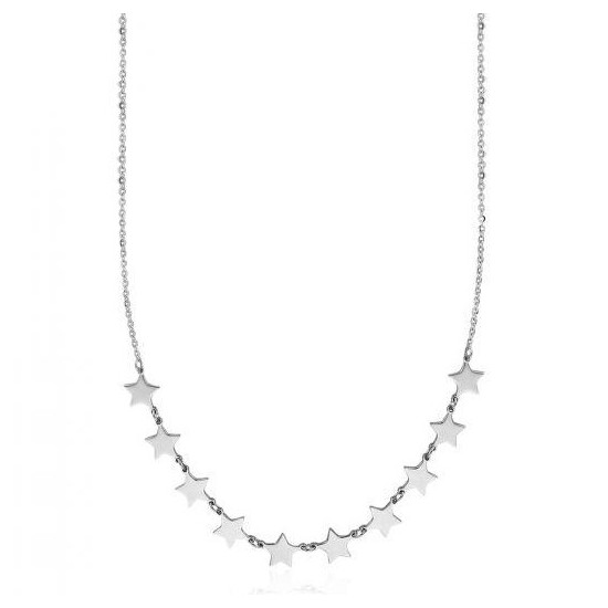 Stainless steel necklace with stars design in white color CK1351