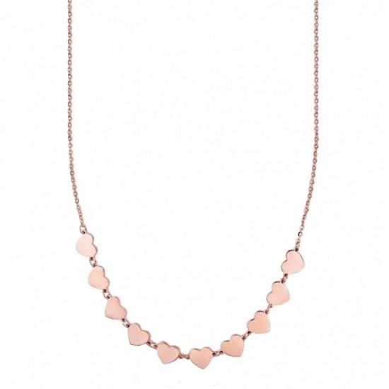 Κολιέ από ανοξείδωτο ατσάλι με σχέδιο καρδιές σε ροζ χρώμα  CK1354