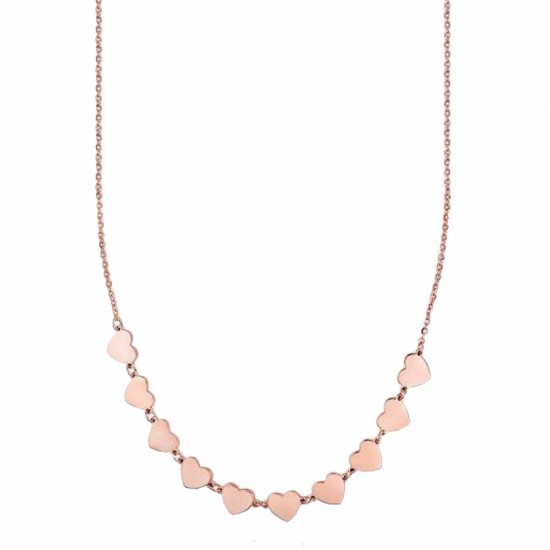 Stainless steel necklace with heart design in pink color Chain length 40-45cm CK1354
