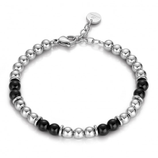 Stainless steel bracelet for men with onyx BA1097