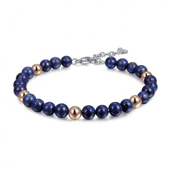 Stainless steel men bracelet with Lapis lazuli semi-precious stone BA1067