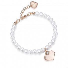 Stainless steel bracelet with heart design in pink color and pearls BK1445