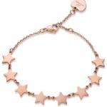 Βραχιόλι από ανοξείδωτο ατσάλι με σχέδιο αστέρια σε ροζ χρώμα BK1741