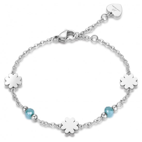 Stainless steel bracelet with four leaf clover design and green crystals BK1778