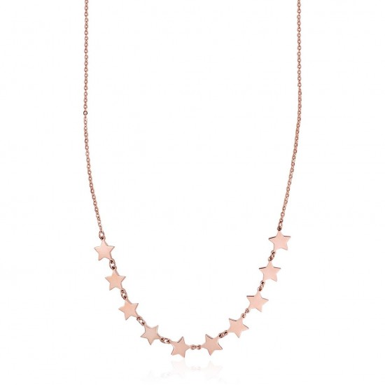 Stainless steel necklace with pink star design Necklace Length 40-45cm CK1353