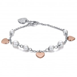 Stainless steel bracelet with white pearls and pink hearts  BK1746