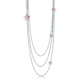 Triple stainless steel necklace with pink stars Necklace length 100-105cm CK1239