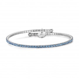 Stainless steel bracelet with crystal in aquamarina color BK1699