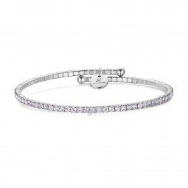 Stainless steel bracelet with crystals in white color BK1692