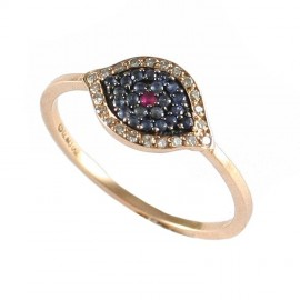 Rose gold ring K18 with eye design with 22 diamonds  18186