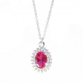 Necklace white gold K9 with white zircon and stone in ruby color 19021