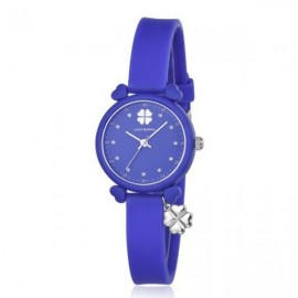Silicone watch with blue plate and silver elements BW197