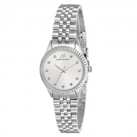 Steel watch with bracelet and silver plate BW203