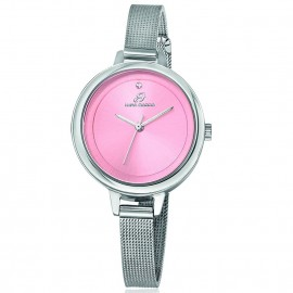Steel watch with Milan bracelet and pink plate BW219