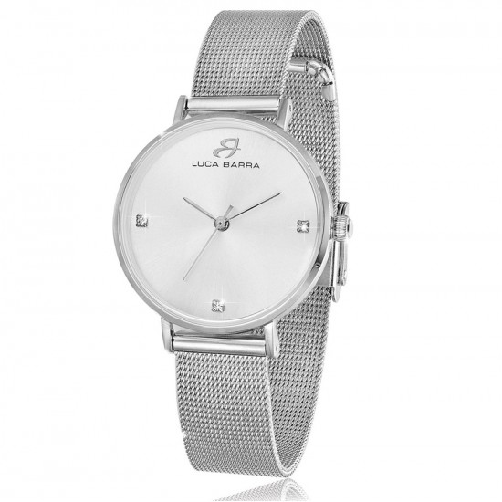 Steel watch with bracelet and silver plate BW206