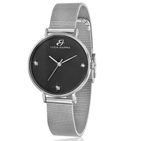 Steel watch with bracelet and black plate BW207