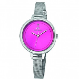 Steel watch with bracelet and fuchsia plate BW216