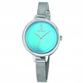 Steel watch with bracelet and turquoise plate BW218