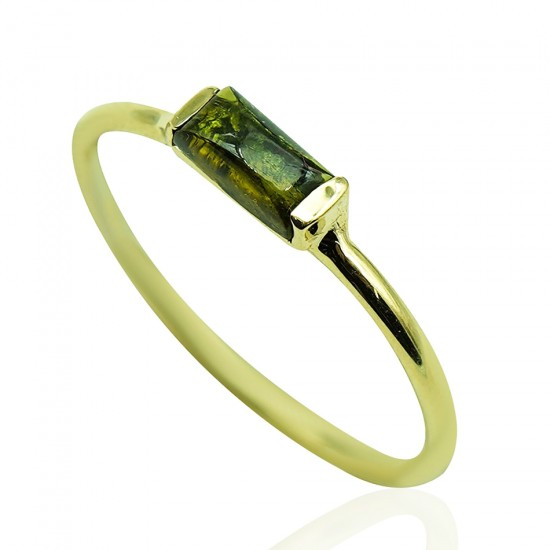 Gold K14 ring with tourmaline mineral stone  19615