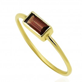 Gold K14 ring with tourmaline mineral stone  196384
