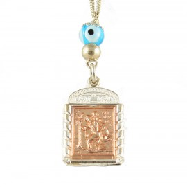 Saint Christopher Silver Talisman with Two-Sided Pink Gold Plated Icon of Virgin Mary Crystallizing for Greater Endurance STCH3