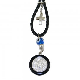 Saint Christopher a two-sided silver amulet with the image of the Virgin Mary crystallizing for greater enduranceν με την εικόνα