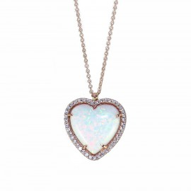 Rose gold K14 necklace with white zircon and heart-shaped mineral opal stone 19500R