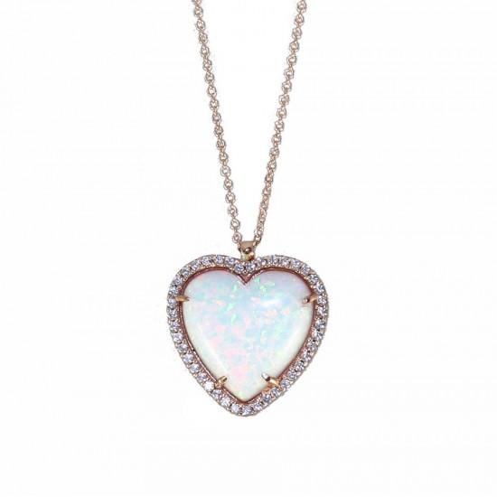 Κολιέ ροζ χρυσό Κ14 με λευκά ζιργκόν και ορυκτή πέτρα οπάλιο σε σχήμα καρδιάς 19500R