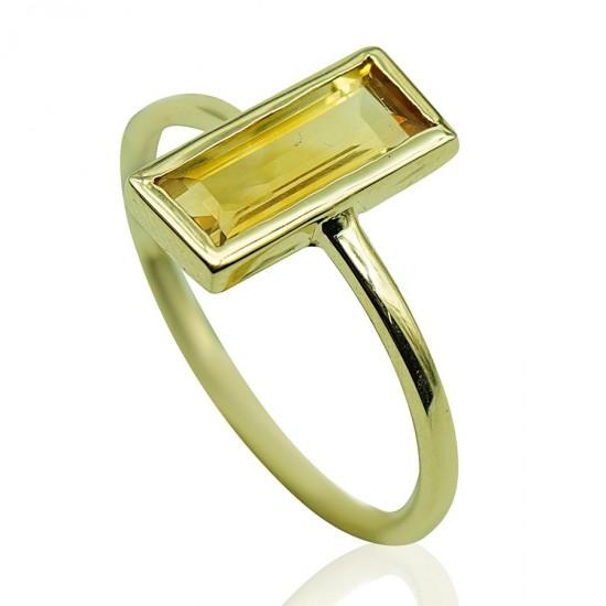 Δαχτυλίδι χρυσό Κ14 με ορυκτή πέτρα citrine 196763