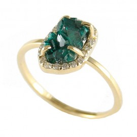 Gold K14 Ring with Mineral Stone Dioptasius and White Zircon 17776