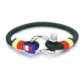Handcuffs for man with green string and climber's knot BA896