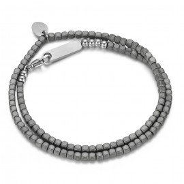 Stainless steel men bracelet with dark grey hematite stone BA899