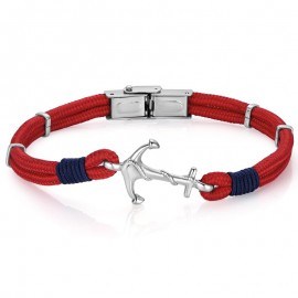 Handcuffs for men with red cord and anchor BA1002