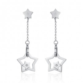 Stars and white zircon earrings made of stainless steel OK1023