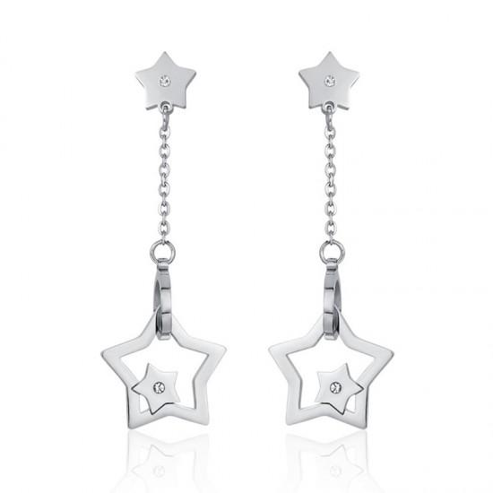 Σκουλαρίκια με αστέρια και λευκά ζιργκόν από ανοξείδωτο ατσάλι OK1023