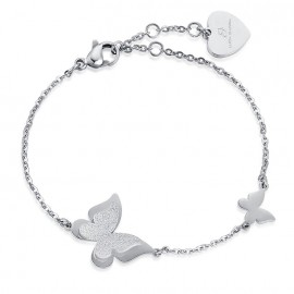 Butterfly bracelet with glitter made of stainless steel BK1814