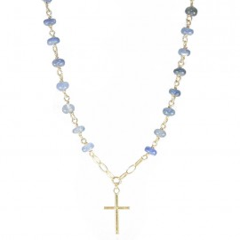 Gold Rosary necklace K14 with Cross and agate stone in blue color  535140