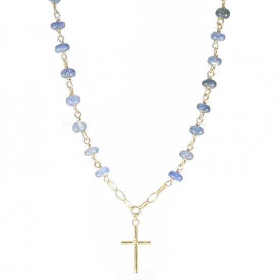 Κολιέ χρυσό ροζάριο Κ14 με Σταυρό και πέτρα αχάτη σε χρώμα μπλέ 535140