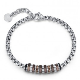 Stainless steel men bracelet with brown items BA1136